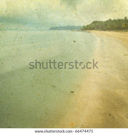 grunge image of beach - stock photo