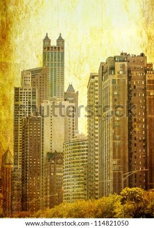 Grunge image of Chicago skyline skyscrapers