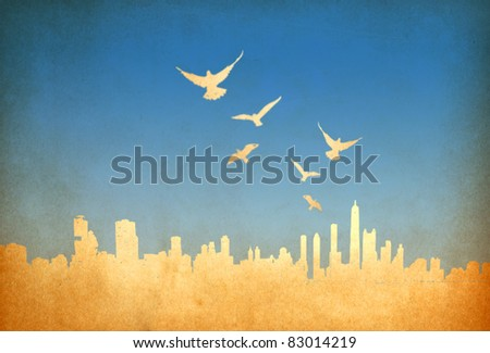Grunge image of cityscape with birds from old paper