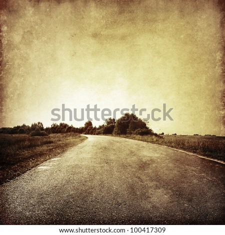 grunge image of country road.
