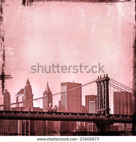grunge image of manhattan bridge and new york skyline