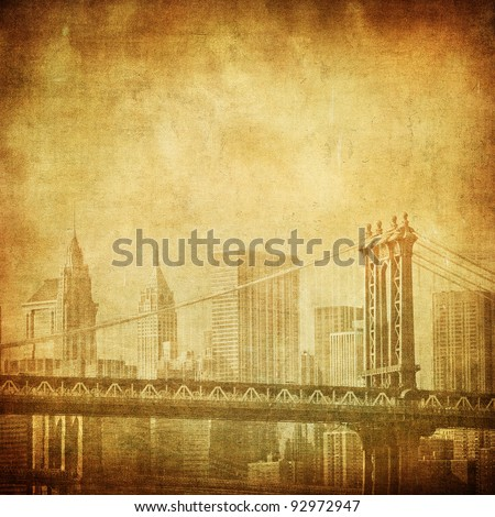 grunge image of manhattan bridge and new york skyline