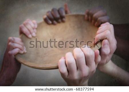 Grunge image of many hands holding an empty bowl - stock photo