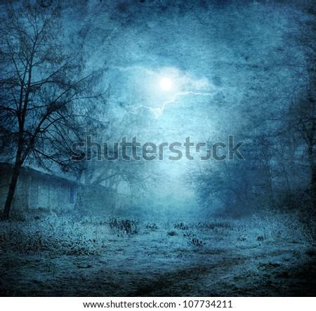 grunge image of moon landscape
