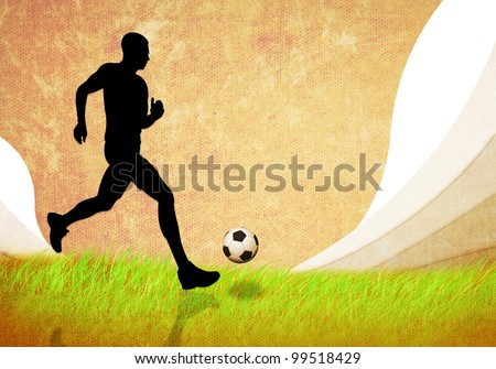 grunge image of soccer man running with football