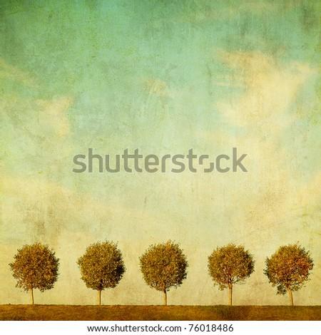 grunge image of trees