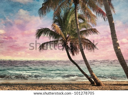 Grunge Image Of Tropical Beach At Sunset
