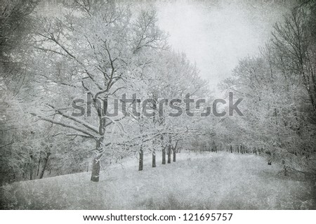 grunge image of winter landscape - stock photo