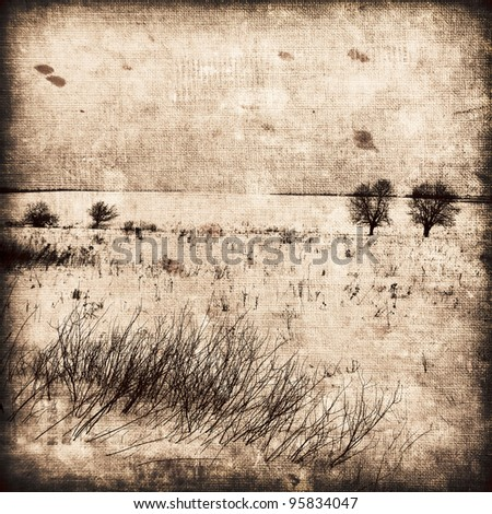 Grunge image of winter landscape.