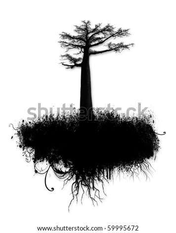 Grunge ink collage with tree and spatter isolated on white - stock photo