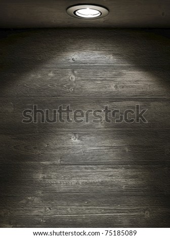 Grunge interior. Empty wooden wall with spot light