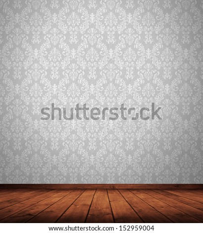 grunge interior room with retro wallpaper. #152959004
