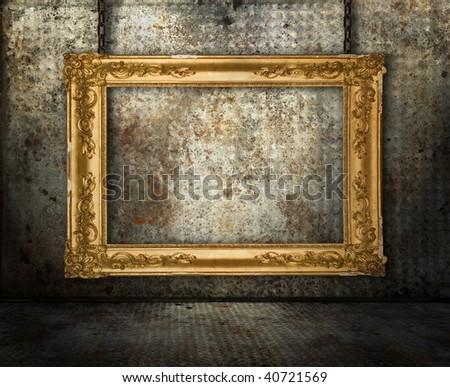 Grunge interior with gold frame