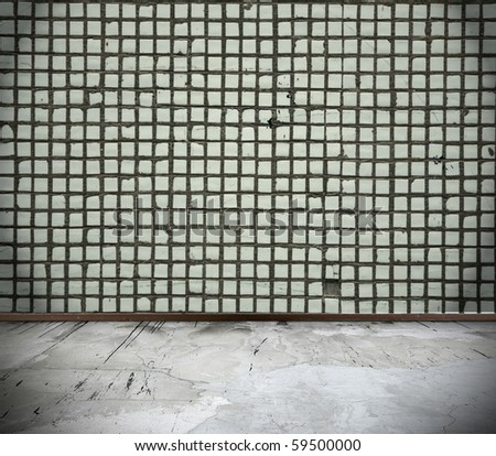 grunge interior with wall made of tile