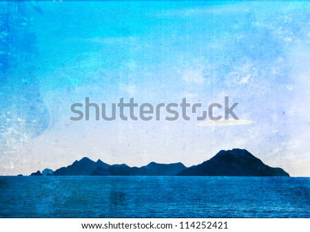 Grunge, Island, Isolated in Blue