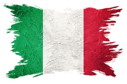 Grunge Italy flag. Italian flag with grunge texture. Brush stroke.