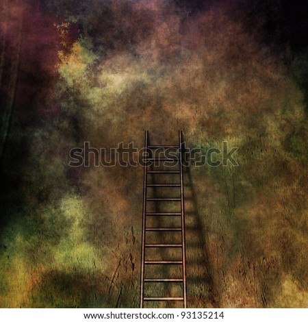 Grunge ladder leans against grunge wall