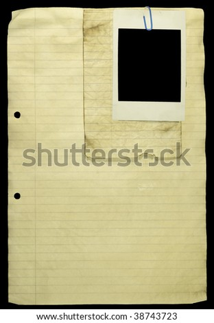 stock photo : Grunge Lined paper with paper clip and a blank photo attached.