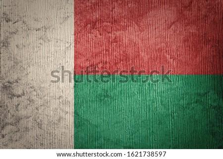 Grunge Madagascar flag. Madagascar flag with grunge texture.