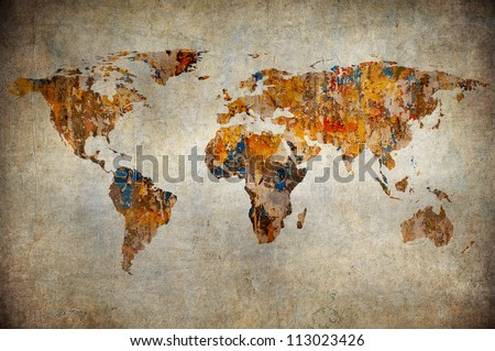 Grunge Map Of The World