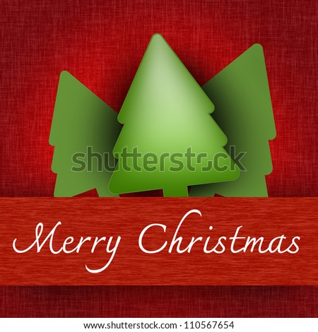 Grunge Merry Christmas Pop Up Card With Christmas Trees and Merry Christmas Banner in Red Background