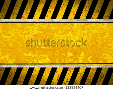 Grunge metal background with black and yellow stripes