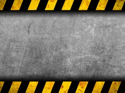 Grunge metal background with black and yellow warning stripes