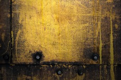 Grunge metal background, worn yellow steel texture