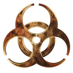 Grunge metal biohazard symbol isolated on white background with clipping path.