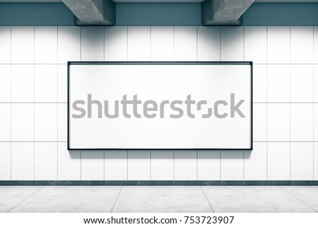 Grunge metro or subway station with blank poster wall. Mock up, 3D Rendering