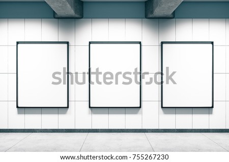 Grunge metro or subway station with empty banners wall. Mock up, 3D Rendering