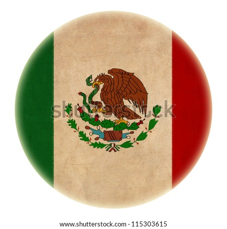 grunge Mexico  flag drawing button