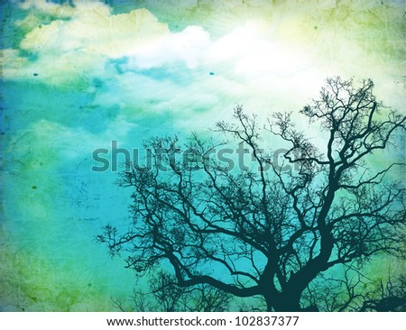 Grunge nature background with tree  on old paper texture