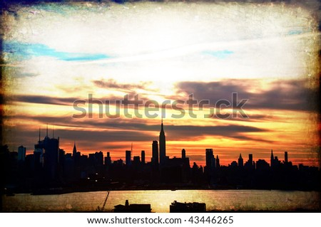 grunge new york early sunrise cityscape skyline silhouette, usa