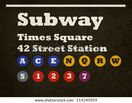 Grunge New York Times Square subway train sign isolated on black background.