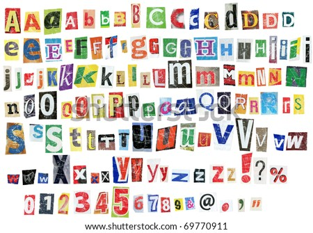 Grunge newspaper alphabet with letters, numbers and symbols. Isolated on white