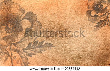 grunge old background with flowers - stock photo