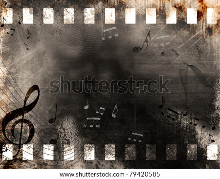 Grunge old film strip background with music notes