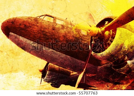 Grunge old military plane, backgrounds
