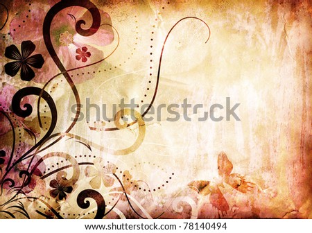 grunge old paper texture with floral pattern