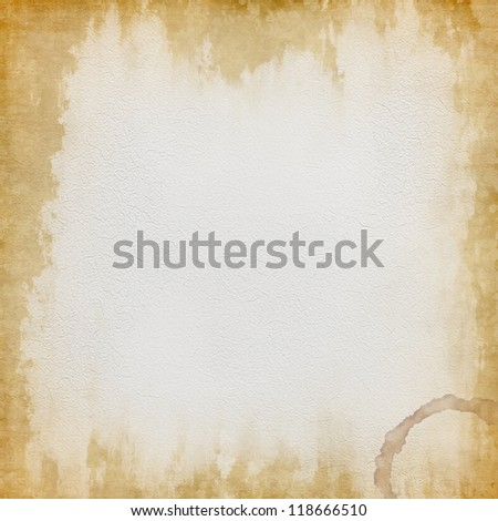 Grunge old wet paper sheet background with coffee stains