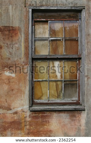 Grunge old window and painted wall - abstract background