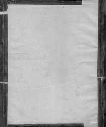 Grunge paper texture with wrinkled edges, water marks and aged tape border (black and white)