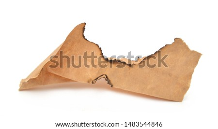 Grunge paper with charred edges on white background