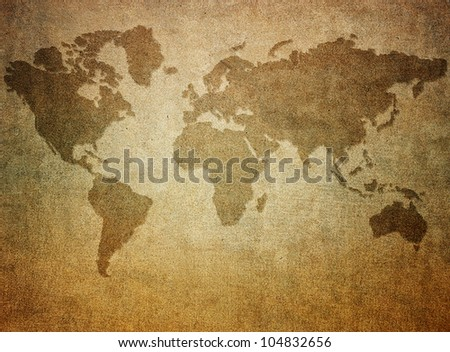 Grunge paper with map background - stock photo
