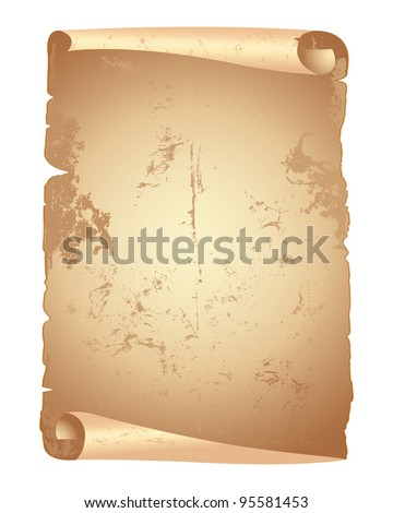 Grunge papers scroll isolated on white. Raster version.