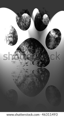 grunge paw print on a white background