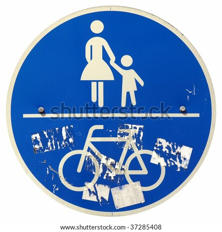 Grunge pedestrians and bikes sign isolated over white