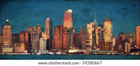 grunge photo beautiful new york cityscape over the hudson
