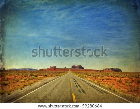 grunge photo monument valley in utah, interstate 163, usa